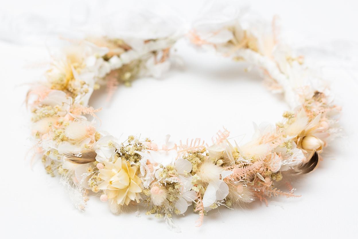 haarkranz boho trockenblumen