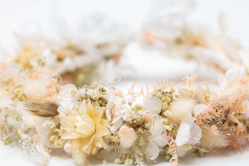 flowercrown echte blumen hochzeit boho trocken
