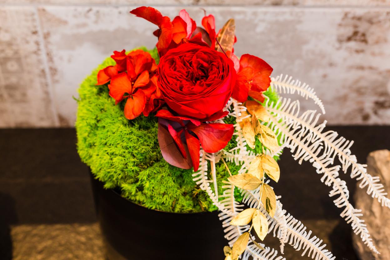 Blumendeko mit roter konservierter englischer Rose und Moos, die für lange Zeit halten, ideal als Geschenk oder zur Hochzeit